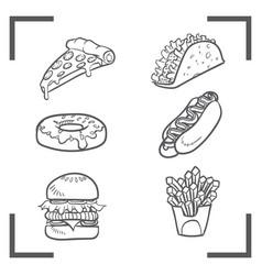 fast food pizza taco donut hotdog burger french vector image