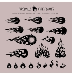 fireballs and flame icons vector image