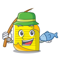 Fishing checked note paper mascot vector