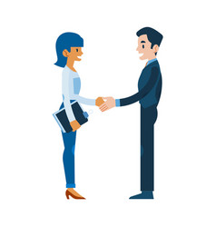 flat man woman business handshake deal vector image