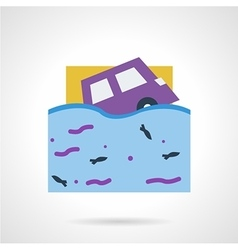 Flood insurance flat color icon vector