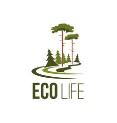 Forest tree eco life green environment icon vector