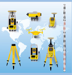 Geodetic measuring equipment icon set engineering vector