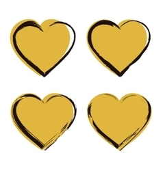 Golden Heart Icon Set vector image