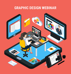 Graphic design webinar concept vector