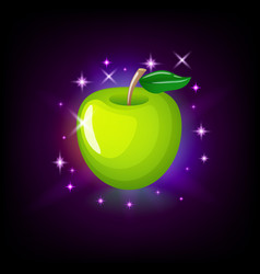 Green apple with leaf slot icon for online casino vector