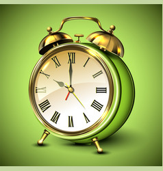 Green retro style alarm clock on green background vector