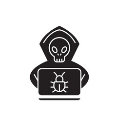 hacking system black concept icon hacking vector image
