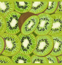 Hand-drawn seamless background with kiwi fruit vector