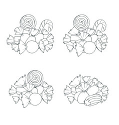 Hand drawn set marshmallows and candies vector
