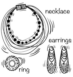 Hand made necklace ring and earings in hand vector