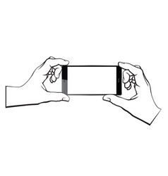 hands with smartphone vector image