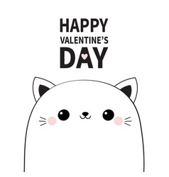 happy valentines day cute cat face head contour vector image