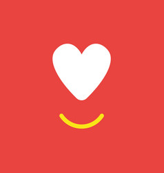 Icon concept of heart with smiling mouth on red vector