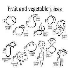 Icons fruits and vegetables juices vector