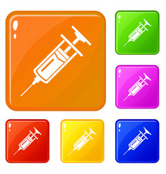 Injector icons set color vector