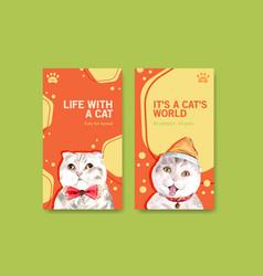 Instagram template design with cute cat vector