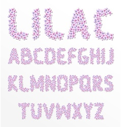Latin alphabet made of lilac Font flowers Floral vector image