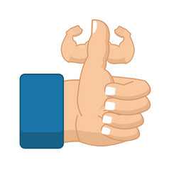 Like fitness strong thumbs up with big muscles vector
