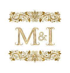 m and i vintage initials logo symbol letters vector image