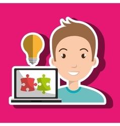 Man laptop creative innovation vector