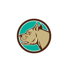 Mastiff Dog Mongrel Head Circle Cartoon vector image