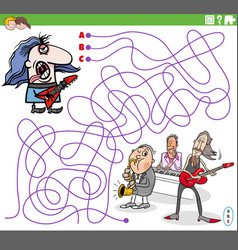 Maze game with cartoon guitarist and music band vector