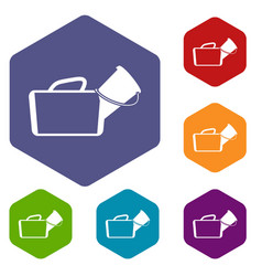Medical bag icons set vector