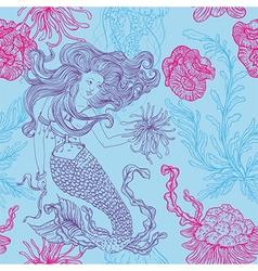 Mermaid marine plants corals jellyfish vector