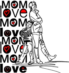mom love vector image