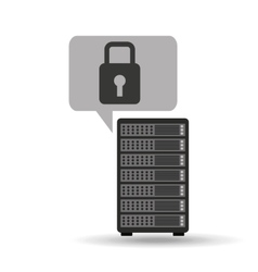 network server concept security lock graphic vector image