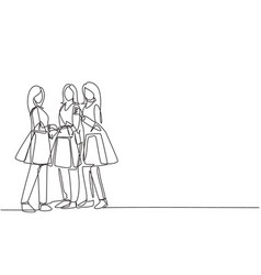 One single line drawing young group happy vector