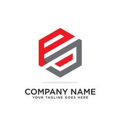P and j logo design template initial logo vector