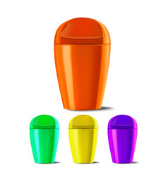 Plastic bucket bucketful different colors vector