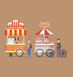 Popcorn and hot-dog street cart with vendors set vector