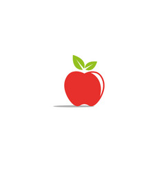 red apple with green leaf logo vector image
