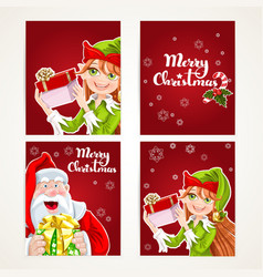 Santa Claus and Elf with gift on Christmas vector image