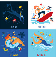 Sea activities concept vector