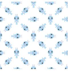 Seamless pattern cartoon bunny on white vector