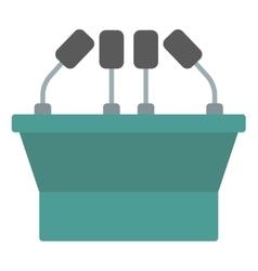 Seminar speech podium with microphones vector image