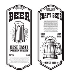 Set beer flyers with beer mug design element vector