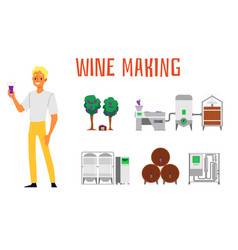 Set making and production wine vector