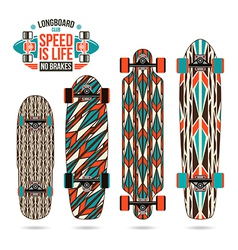 Set of decorative print on longboard vector