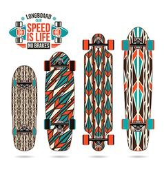 Set of decorative print on longboard vector image