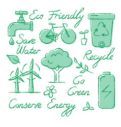 set of ecology icons and lettering in sketch style vector image