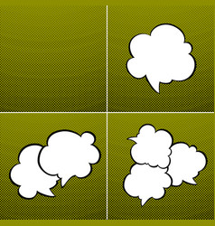 Set of speech bubbles on green background vector