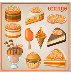 Set of sweets with an orange vector