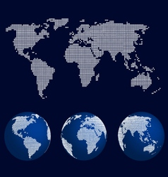set world globes in dot pattern and world map vector image