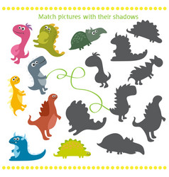shadow matching game with cartoon dinosaur for vector image