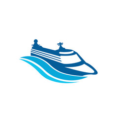 ship and waves sailing boat logo design vector image